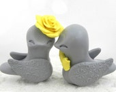 Love Birds Wedding Cake Topper, Grey and Sunny Yellow, Bride and Groom Keepsake, Fully Customizable