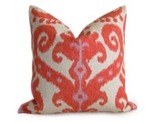 Ikat Designer Pillow Cover - Firecracker - Coral - Orange - 18 inch - Ikat Pillow - Decorative Pillow - Orange Pillow - Coral Pillow