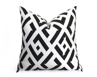 CHINA CLUB // Black and Off-White-Decorative Pillow Cover - DVF pillow - Geometric Pillow - Linen Pillow - Designer Pillow