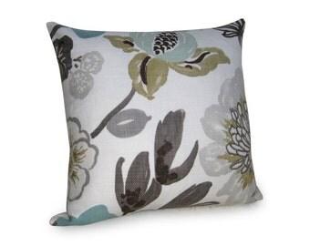 Kravet - Jellybean Designer Pillow Cover - Aqua - Brown - Tan - Blue - 18 inch - Floral Pillow - Decorative Pillow - Linen Pillow