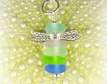 GENUINE Sea Glass Necklace Pastel Dragonfly Jewelry Sterling Silver