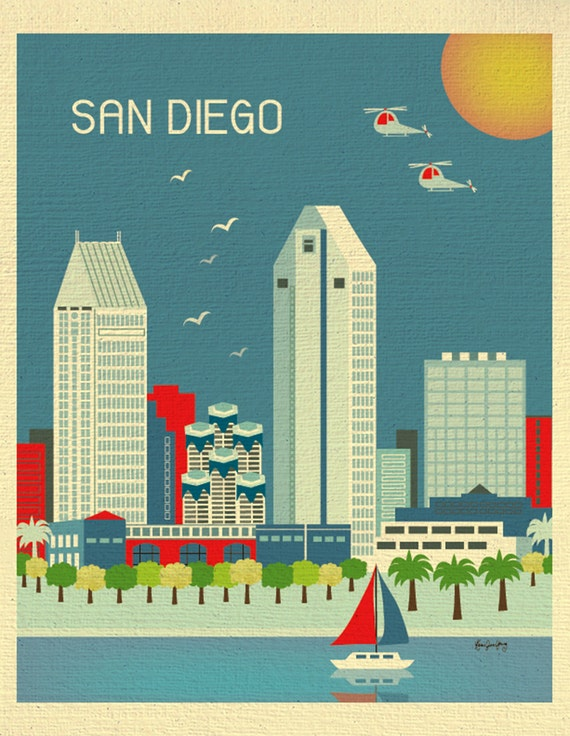 San Diego Wall Art, San Diego Skyline Print, San Diego Vertical Art,  Blue San Diego Art, San Diego Wall Decor, SD Ca Art - style E8-O-SD