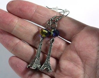 Blue and Gold Crystal Bead and Silver Eiffel Tower Charm fashion Earring - boho style jewelry - France - Midnight in Paris