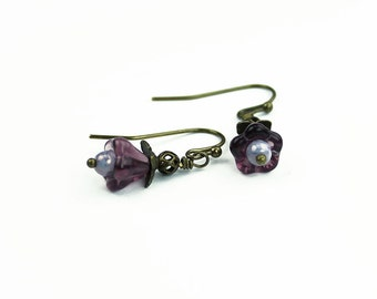 Vintage Style Floral Inspired Earrings, Purple Czech Glass & Antiqued Brass, Gifts for Her