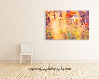poppy flower photograph, nature photography, canvas wrap, red flowers, orange, yellow gold, nursery wall art, baby girls room, ready to hang