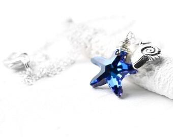 Blue Starfish Necklace, Sterling Silver Wire Wrapped Swarovski Crystal Bermuda Blue Starfish Crystal Pendant, Nautilus Charm
