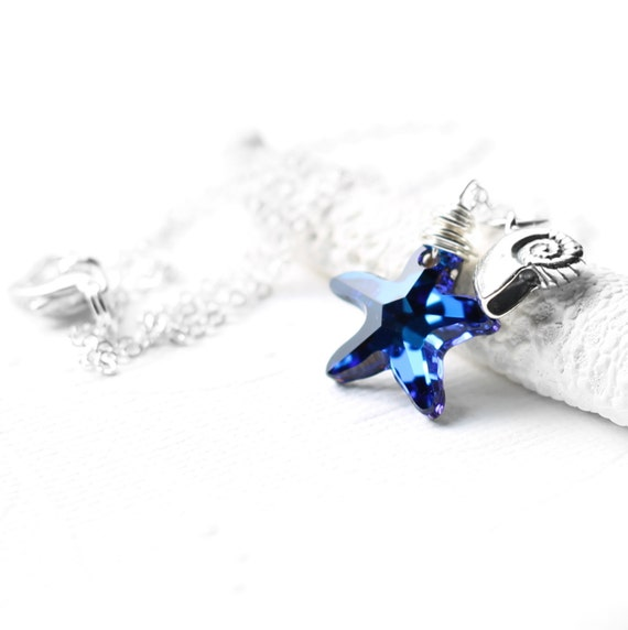 Blue Starfish Necklace, Sterling Silver Wire Wrapped Swarovski Crystal Bermuda Blue Starfish Crystal Pendant, Nautilus Charm