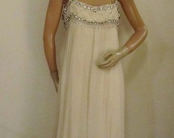 60's Wilson Folmar White Silk Chiffon Gown With Rhinestones and Crystals