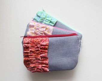 mini chambray ruffle clutch -- choose your ruffle color!