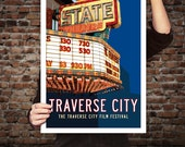 STATE Theatre Travel Poster. Traverse City, Michigan. Vintage Movie Theater Sign, Retro Movie Marquee Art, Film Festival Print. 20 x 30