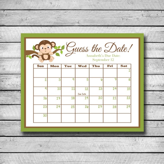 Calendar Typography Quiz : Guess the date monkey baby shower game due calendar