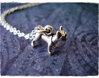 Tiny Boston Terrier Necklace - Sterling Silver Boston Terrier Charm on a Delicate Sterling Silver Cable Chain or Charm Only