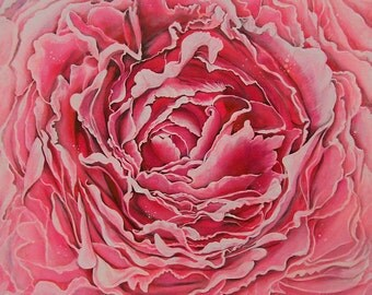 """Art Original Painting Abstract Surreal  Flower -Title-"""" The Intensity of Passion """""""