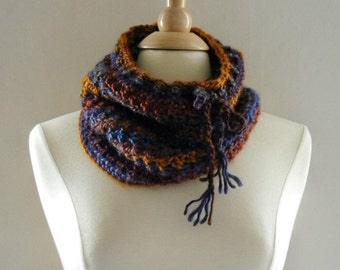 Crochet Cowl Scarf Neckwarmer Women Over the Ridge with Drawstring in Blue Purple Burnt Orange and Gold