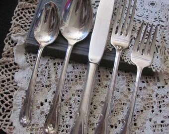 Silverware Setting - Silver Plate Soup Spoon, Salad, Teaspoon, Fork, Knife - Sonata 1948  Pattern R Wallace