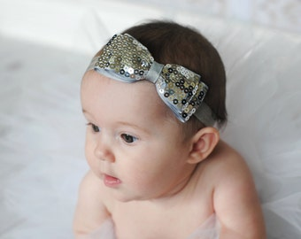 Silver Sequin Bow Headband. SIlver Baby Bow Headband. Silver Baby Headband. Baby Hair Accessories. Girls Hair Accessories. Silver Headband