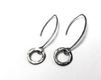 Silver Earrings, Handmade Silver Earrings, Hammered Earrings, Rustic Earrings, Rustic Earrings in Sterling Silver, Rustic Wedding Earrings
