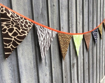 Safari Bunting Flags Animal print Fabric Pennants jungle theme
