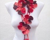 Crochet Lariat Scarf Red Brown Flower Variegated Long Necklace