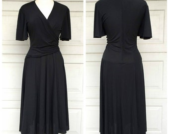 Bias Cut Little Black Dress Bell Sleeve Vintage 70s Disco Wrap Dress Jersey Knit Full Skirt Small Women Rimini