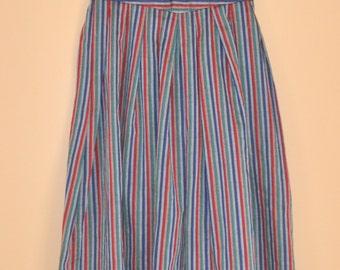 Vintage 70s Striped Midi Skirt XS / Blue Green Red Sheer Cotton High Waist Skirt / Petite Long Pleated Western Summer Flared Skirt / Hipster