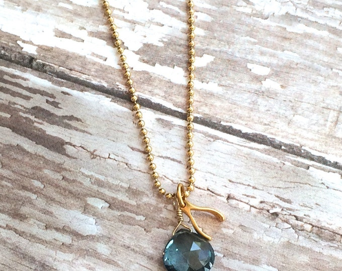 "London Blue Topaz and Gold Wishbone Necklace--16""  Good Luck Necklace"
