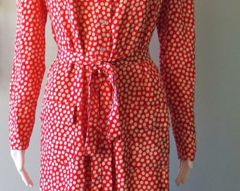 Chic 1980's Red and White Polka Dot  Adele Simpson Silk  Dress