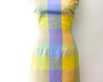 Vintage 90's Pastel Plaid Shift Dress Size 4