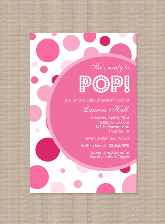 to pop baby shower invitation pink girl about to pop baby shower