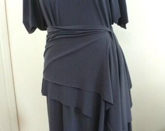 Gray pullover drape dress/Ity jersey fabric