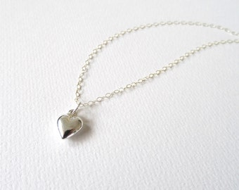 Sterling Silver Tiny Heart Necklace | Silver Charm Necklace
