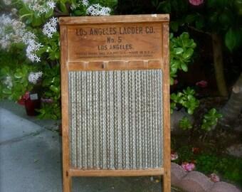 Vintage Washboard Los Angeles Ladder Co. No. 5 Los Angeles antique Wash Board
