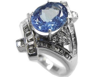 tanzanite diamond ring  14k white gold