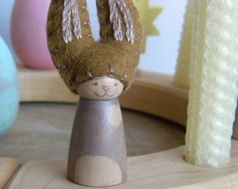 Easter Bunny for the Spring Nature Table, Waldorf Holiday Birthday Ring Decor, Rabbit, cream, brown, wool felt, wood, Easter/ Spring decor