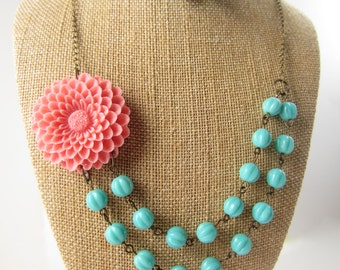 Bridesmaid Jewelry Set of 4 Coral Statement Necklace Flower Necklace Double Strand Necklace Chunky Necklace Floral Jewelry Coral Wedding