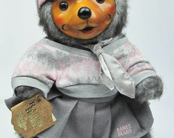 Robert Raikes Collectible Wooden Bear 'Daisy' Signed Limited Edition with Hang Tag Vintage 1986 Collectible Bear