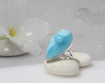 Larimarandsilver ring size 7.75, Turquoise Gipsy - turtleback turquoise Larimar pear, turquoise, sky blue, topaz blue, handmade Larimar ring
