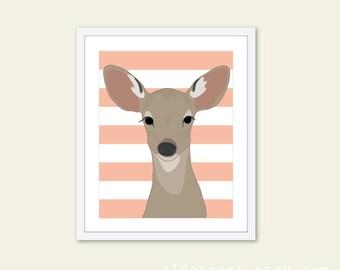 Deer Art Print - Deer Nursery Wall Art Print - Fawn Baby Children Art - Woodland Animal - Peach Stripes
