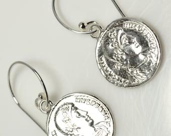 LP  1095 Sterling Silver Roman  Replica Coin Earrings