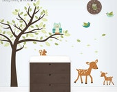 Owl Tree Wall Decal - Tree Decal - Forest Baby Nursery -  Forest Animals Decal - Owl, Deers, Birds, and Squirrel Wall Stickers - LSWD-0075TR