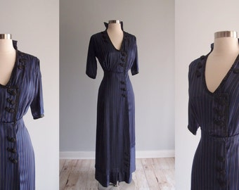 Antique Edwardian Dress / 1910s Navy pinstripe Silk Dinner Dress with sequins & jet bead trim