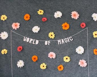 paper decor banner, WORLD OF MAGIC - handmade, wall hanging, bedroom decor, house decor, interior decor, home decor, word banner, paper