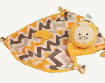 Duck Security Blanket in Chevron, Baby Lovey, Duck, Baby Blanket, Baby Toy, Stuffed Animal, Animal Blanket, Sensory Toy, Personalize