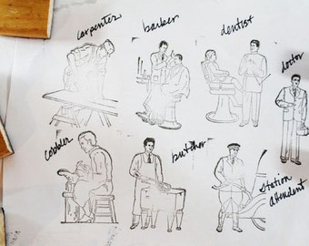 Occupations Rubber Stamps, Butcher, Baker, Doctor, Painter, Policeman, Cobbler, Dentist, Milkman and more