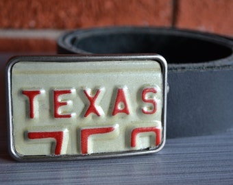 Texas Recycled  1970's Motorcycle License Plate Belt Buckle