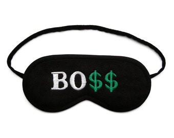 Best Boss Sleep Mask, Sleeping eye mask, Dollar eye mask, Text sleepmask, Office party man gadget, Funny word gift for him, Millionaire gift