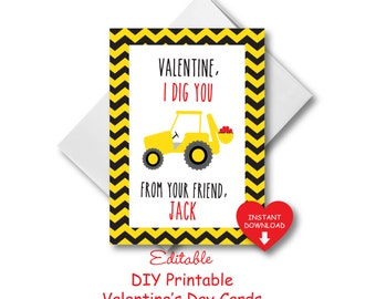 INSTANT DOWNLOAD Personalized Valentine's Day Cards, editable text, kids valentines,  for classroom valentine party, valentines for school