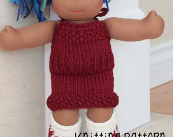 PATTERN Knitting Halter Sweater Dress - Waldorf Doll Pattern - Bamboletta