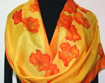 Silk Scarf Hand Painted Orange Yellow Hand Dyed Scarf Silk Shawl FLYING FLOWERS Large 14x70 Birthday Gift Scarf Silk Scarves Gift Wrapped