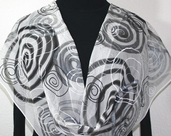 Silk Scarf Hand Painted White Black Silver Hand Dyed Scarf Chiffon Shawl SILVER SPIRALS Birthday Gift. GiftWrapped. Offered in Several SIZES